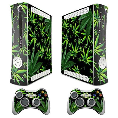 xbox-autocollant-decoratif-pour-console-systeme-xbox-360-slim-et-manettes-motif-plantes-noir