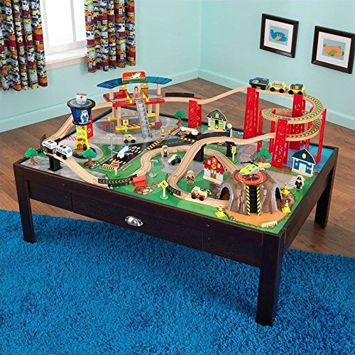 KidKraft Airport Express Espresso Table and Set (Wooden Train Set Table compare prices)