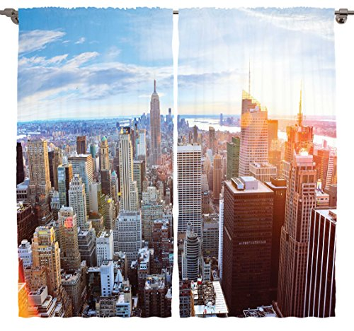 Ambesonne Cityscape Contemporary Artistic World Decor Collection, New York City Manhattan Skyline Sunset Landscape Rose Quartz, Living Room Bedroom Curtain 2 Panels Set, 108 X 84 Inches (Steel Building 40x60 compare prices)