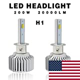 Globled 2x H1 Led Headlight Bulbs for Cars 200W 20000LM Can-Bus 6000k White/3000k Yellow Turbo Automotive Lamps Led Driving Lights Car Bulbs (D1-H1) (Tamaño: HG-D1-H1-FBA)