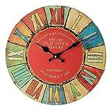 時計でイメチェン 壁掛け時計 アンティーク レトロ モダン カラフル 見やすい (レッド/太陽)