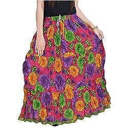 SHREEMANGALAMMART Fashionable Ethnic Cotton Full Length Skirt (Multi)(SMSKT580)