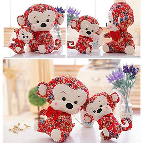 1 Pcs/25 Cm Cute Zodiac Monkey Mascot Plush Pull Doll Toy New Year Gift + 1Pcs Free Card Form FJTANG + 5 Pcs Free Gift Bag From FJTNAG