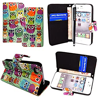 MobileExtraLtd® Apple Iphone 4 4S Various New Stylish Printed PU Leather Magnetic Flip Case Cover Pouch + Stylus + Screen Protector (Multi Birds Owls Style 3)