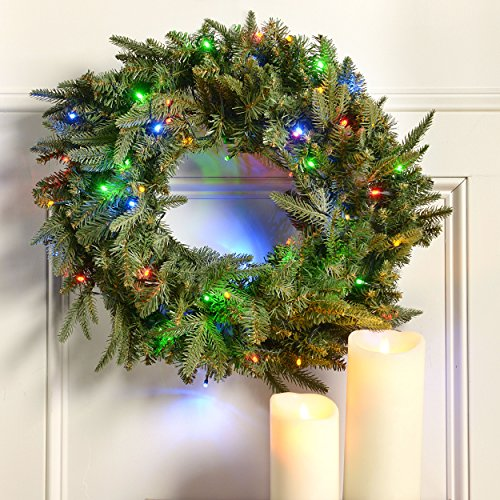 "24"" Windsor Fir Battery Operated Led Christmas Wreath W/ Color Changing Lights"
