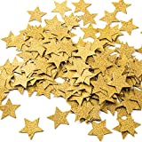 MOWO Glitter Five Stars Paper Confetti, Wedding Party Decor and Table Decor, 1.2'' in Diameter (glitter gold,200pc) (Color: Gold Glitter)