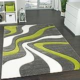 Designer Teppich mit Konturen-schnitt Modernes Wellen Muster in Grau Grün Creme , Grösse:120×170 cm