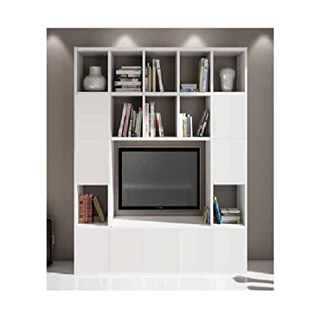 Libreria con Porta TV moderno e 9 porte color bianco frassinato