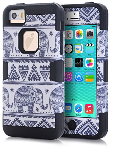 iPhone 5C Case,iPhone 5C Elephant case,TOPSKY(TM) Thailand Elephant Tribe Pattern 3 Layer Heavy Duty High Impact Hybrid Case For iPhone 5C,with Screen Protector and Stylus,(5CKKDX,Black) (Iphone 5c Protective Case Cute compare prices)