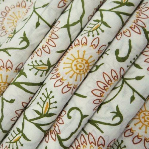 weißen Sockel Blumenmuster apparal Nähen Handwerk Baumwollgewebe Vorhang Kissen Quilt Kissen indien pro Yard