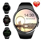 Smart Watch Bluetooth Smartwatch Round Touch Screen Fitness Watches with Nano SIM/Micro SD Card Slot Heart Rate Monitor Compatible with iOS iPhone Apple Android Samsung for Men Women Teens Adults (Color: KW-Black)