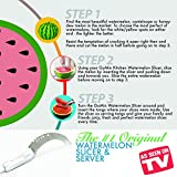 #1 Watermelon Knife Corer Slicer & Server + Gift Box + Classy White Handle for Comfort, Safety & Style • Cutter Tongs for Melons & Canteloupe, Stainless Steel Knife Peeler by GoMin Kitchen