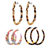 3PCS Acrylic Earrings Mottled Resin Hoop Earrings Circle Statement Earrings Jewelry Set for Women Girls (G: 3PCS Set 1)
