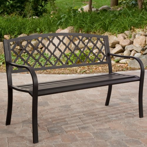 Coral Coast Coral Coast Crossweave Curved Back 4-ft. Garden Bench, Antique Black, Steel