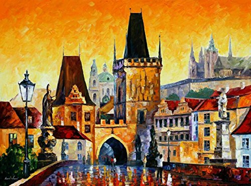 Prague, Old City Palette Knife Oil Painting On Canvas Wall Art Deco Home Decoration 40 X 30 In Unframed