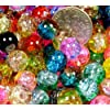 50pcs Mix 2-tone Crackle Lampwork Glass Round Beads 8mm