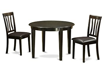 East West Furniture HLAN3-CAP-LC 3-Piece Kitchen Table and Chairs Set, Cappuccino Finish