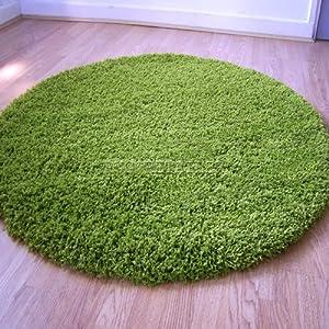 Yazz Plain Apple Green Shaggy Pile Round / Circle Rugs 120cm (4') Diameter