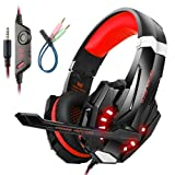 Mengshen Gaming Headset for PS4/ Xbox one/Xbox One S/PC/ Mac/Laptop/ Cell Phone - Gaming Headphone with Mic, LED Light, Bass Surround, Noise Cancelling, Soft Earmuffs, G9000 Red (Color: Red)