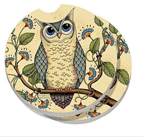 CounterArt Absorbent Stoneware Car Coaster, Wise Owl, Set of 2