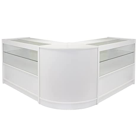 MonsterShop Gemini Shop Counters Set & Glass Retail Showcase Cabinet Display, Lilac White
