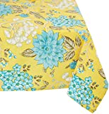 "Mahogany P73T9 Rectangle ""Belle"" Printed Tablecloth, 60 by 90-Inch, Yellow"