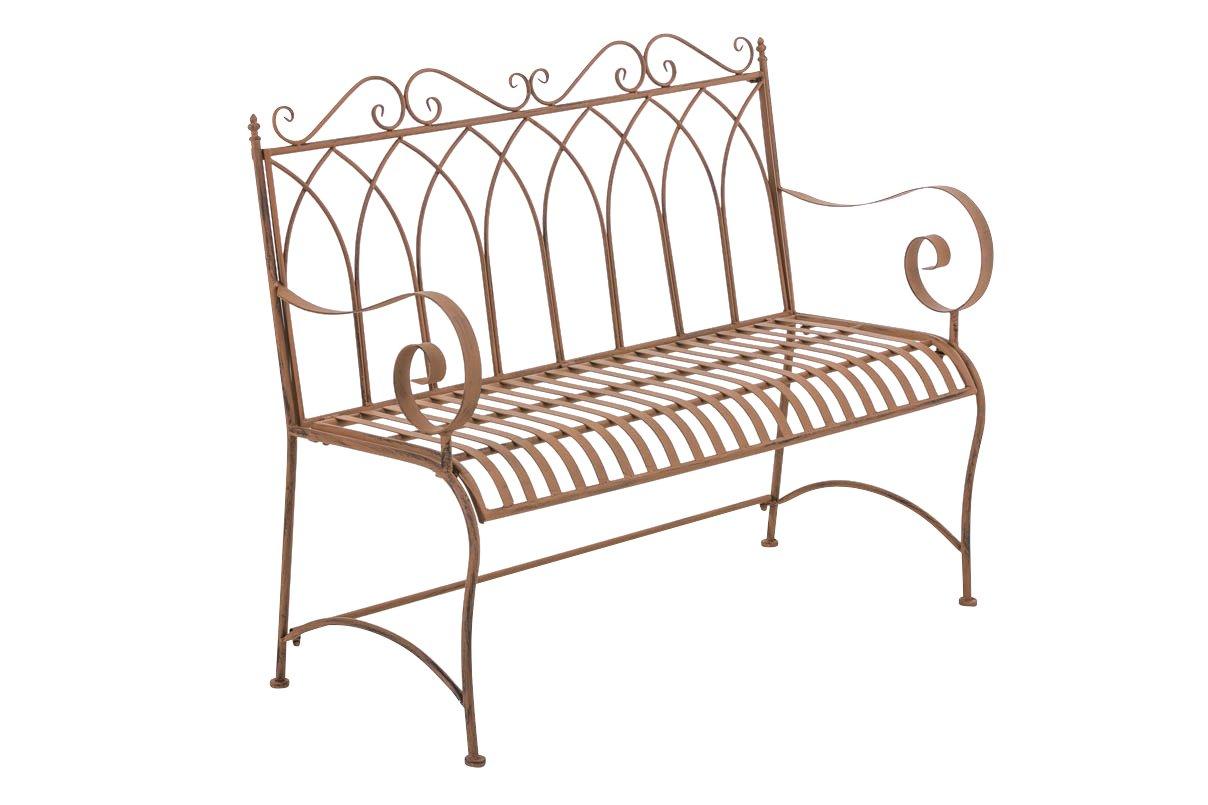 CLP Gartenbank DIVAN im Landhausstil, aus lackiertem Eisen, 106 x 51 cm - aus bis zu 6 Farben wählen antik-braun