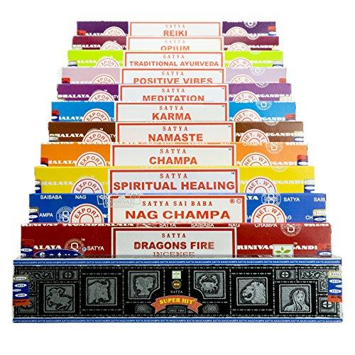 Genuine-SATYA-SAI-BABA-Nag-Champa-VIELFALT-MIX-Geschenk-Set-B-12-x-15-g-Boxen-von-Rucherstbchen-enthlt-Nag-Champa-Super-Hit-Positive-Vibes-Namaste-Champa-Opium-Reiki-spirituelle-Heilung-Dragons-Fire-K