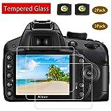 D3400 Screen Protector Appliable for Nikon D3500 D3400 D3300 D3200 DSLR Camera & Hot Shoe Cover,[2+3Pack] ULBTER 9H Hardness Tempered Glass Flim Anti-Scrach Anti-Fingerprint Anti-Bubble Anti-Water