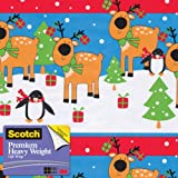Scotch  Gift Wrap, Reindeer Rows Pattern, 25-Square Feet, 30-Inch x 10-Feet (AM-WPRR-12)