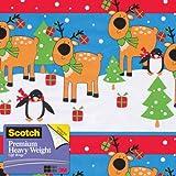 Scotch  Gift Wrap, Reindeer Rows Pattern, 25-Square Feet, 30-Inch x 10-Feet (AM-WPRR-12)