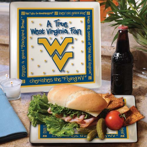 Ncaa West Virginia Mountaineers True Fan Ceramic Square Plate