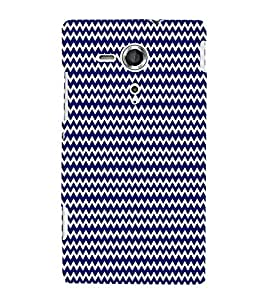 Dark Blue Chevron 3D Hard Polycarbonate Designer Back Case Cover for Sony Xperia SP :: Sony Xperia SP M35h