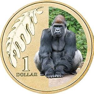 オーストラリア 2012年 動物園シリーズ ニシローランドゴリラ 1ドルカラーアルミブロンズ貨 未使用