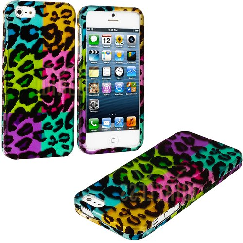 Buy  myLife (TM) Colorful Leopard Spots Series (2 Piece Snap On) Hardshell Plates Case for the iPhone 5/5S (5G) 5th Generation Touch Phone (Clip Fitted Front and Back Solid Cover Case + Rubberized Tough Armor Skin + Lifetime Warranty + Sealed Inside myLife Authorized Packaging)