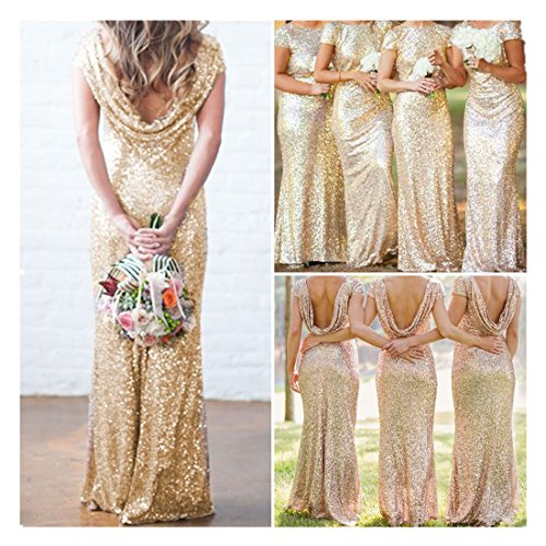 Bridal Mermaid Gold Sequin Bridesmaid Dress Stretchy Backless Wedding Party Gown (L, Gold)