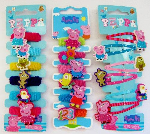 Peppa Pig - 6 Hair Clips, 12 Hair Ponies Bands
