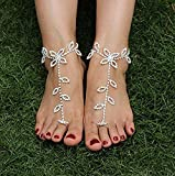 yueton-Rhinestone-Leaf-Hand-Harness-Bracelet-Bangle-Fashion-Ankle-Bracelet-Anklet-with-Chain-Link-Finger-Ring-for-Women-Sandals-Beach-Foot-Jewelry-Accessories-Pack-of-2