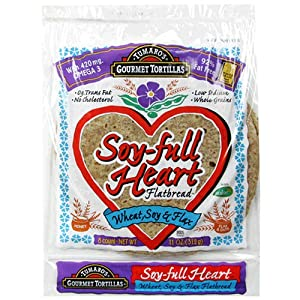 Tumaro's Soy-full Heart 8-Inch Flatbread, Wheat, Soy N Flax, 11-Ounce Packages (Pack of 6)