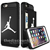 Apple iPhone 7 Plus - Dual-Layered Credit Card ID Storage Basketball Case Michael Jordan Store Money Cash Slide Wallet Jumpman Air Protective Cover (Black, iPhone 7 Plus) (Color: Black, Tamaño: iPhone 7 Plus)
