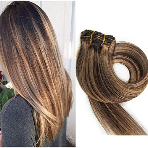 TheFashionWay Brazilian Human Hair Extensions Clip in Silky Straight Weft Remy Virgin Hair (22 inches, #4-27) (Human Hair Extensions Clip On compare prices)