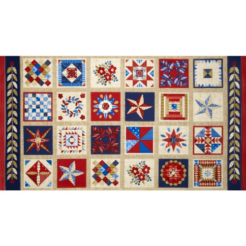 American Beauty Quilt Blocks Blue/Red Fabric