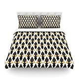 "Kess InHouse Nika Martinez ""Glitter Triangles in Gold and Black"" Geometric Cotton Duvet Cover, 88 by 104-Inch"