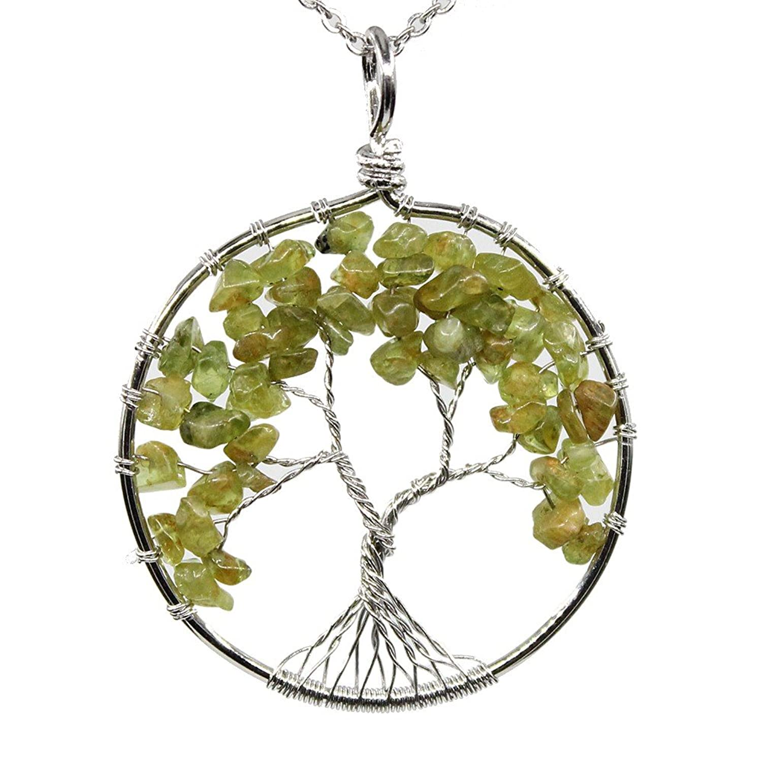 "KISSPAT Wire Wrapped Tree Of Life Natural Gemstone Pendant Necklace With 26"" Real Stainless Chain"