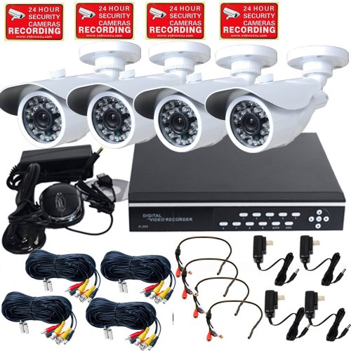 Videosecu 4 Channel Stand Alone Security Surveillance Dvr Digital Video Recorder System Including 4 Day Night Vision Outdoor Infrared Ccd Security Cameras, 4 Mini Microphones, 4 Extension Cables, 4 Power Supplies And 2000Gb Hard Drive We1