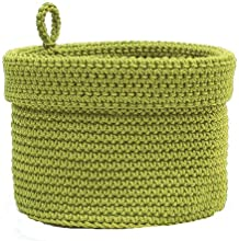 Heritage Lace Mode Crochet Round Basket with Loop 10 by 10-Inch Citron Green