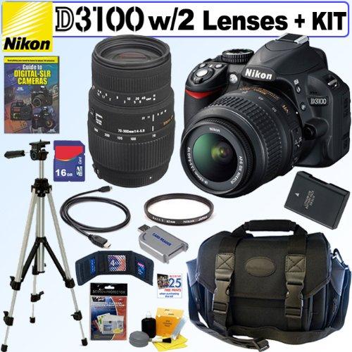 Nikon D3100 14.2MP Digital SLR Camera with 18-55mm f/3.5-5.6 AF-S DX VR Nikkor Zoom Lens and Sigma 70-300mm f/4-5.6 SLD DG Macro Lens with built in motor + EN-EL14 Battery + Nikon Filter + 16GB Deluxe Accessory Kit