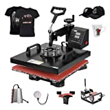 VIVOHOME 6 in 1 Multifunctional Swing Away Clamshell Printing Heat Press Transfer Machine for T-Shirt Hat Cap Mug Plate 15 x 15 Inch (Color: 6 in 1, Tamaño: 15 x 15 Inch / 6 In 1)
