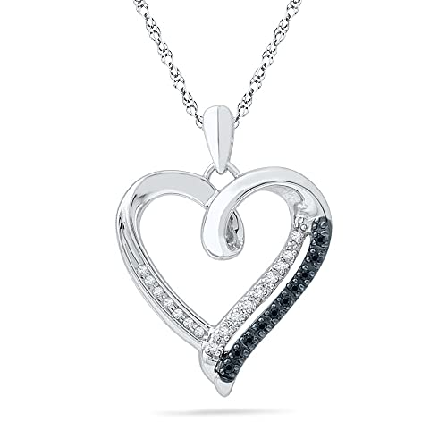 Sterling-Silver-Black-and-White-Round-Diamond-Heart-Pendant-1-10-Cttw-