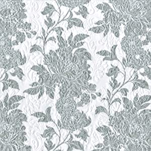 Ideal Home Range Printed and Embossed Caprice Cameo Cocktail Napkins, Silver, 16-Pack